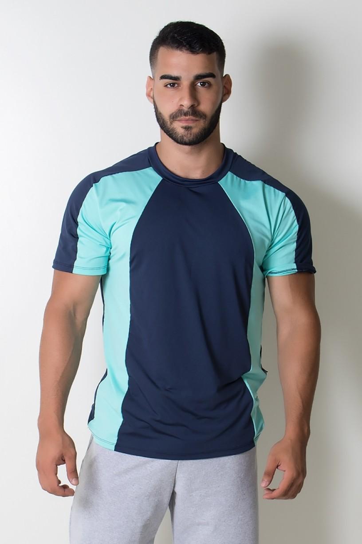 KS-H09-001_Camiseta_Masculina_de_Microlight_Duas_Cores_Azul_Marinho__Verde_Agua__Ref:_KS-H09-001