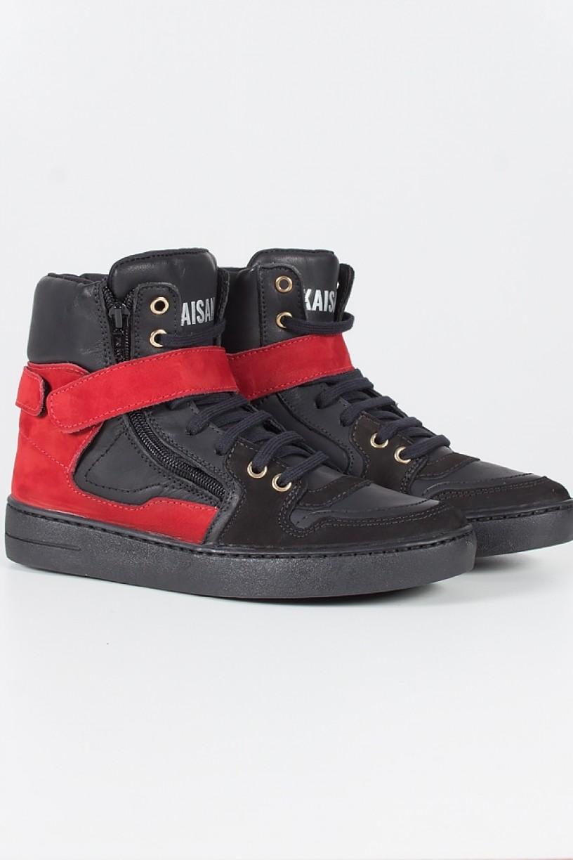 T38_Sneaker_Preto_com_Vermelho__Ref:_T38