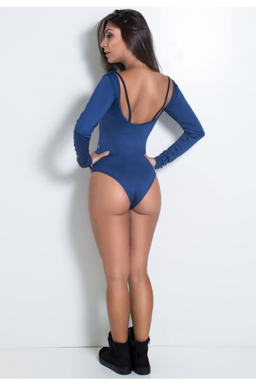 KS-F2092-001_Body_Manga_Longa_Liso_com_Detalhe_em_Tule_Azul_Marinho__Preto__Ref:_KS-F2092-001