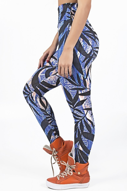 KS-F27-019_Legging_Estampada_Mosaico_Azul_e_Laranja_com_Folha_Preta__Ref:_KS-F27-019