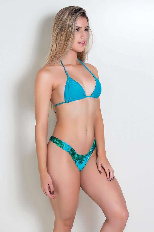 Biquini Cortininha com Calcinha Estampada e Pala Franzida (Verde Esmeralda / Coqueiro Verde e Azul)  | Ref: DVBQ13-003