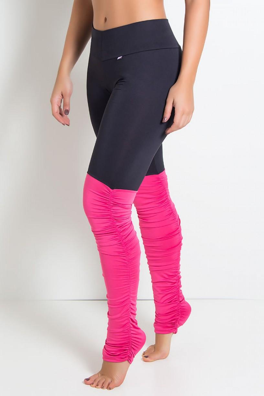 Calça Legging Duas Cores com Perna Franzida (Preto / Rosa Pink) | Ref: KS-F1792-002
