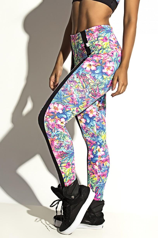 Legging Estampada Cós Baixo com Faixa (Flores Rosas com Folhas Azuis / Preto) | Ref: KS-F1089-002