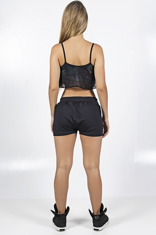 Conjunto Top Estampado Coberto com Tecido Transparente e Short Liso com Bolso | Ref: F1064