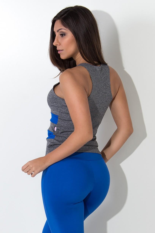 Camiseta Mescla com Detalhe Liso (Azul Royal) | Ref: F1421