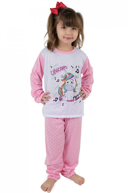 Pijama longo de Malha Infantil 108 (Unicórnio Rosa)   Ref: CEZ-PA108-005