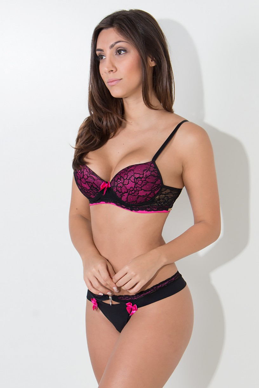 Conjunto Raissa 2385 (Preto com Rosa Pink) | Ref: KS-B203-004