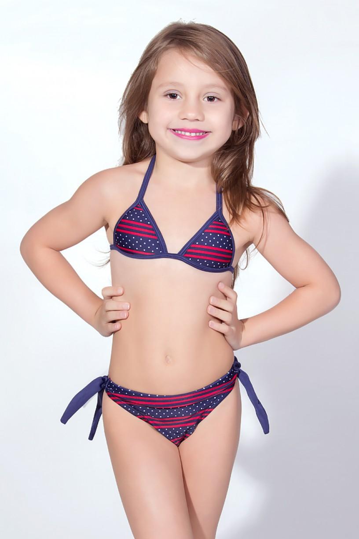 Biquini Infantil Estampado de Amarrar com Bojo (Azul Marinho com Listras e Pontinhos) | Ref: DVBQ27-003
