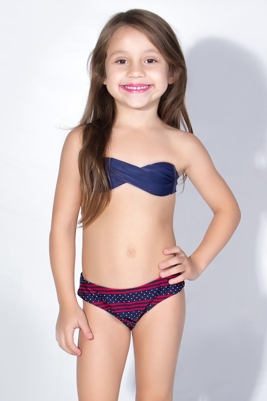 Biquini Infantil Tomara Que Caia com Calcinha Estampada (Azul Marinho / Azul Marinho com Listras e Pontinhos) | Ref: DVBQ28-003