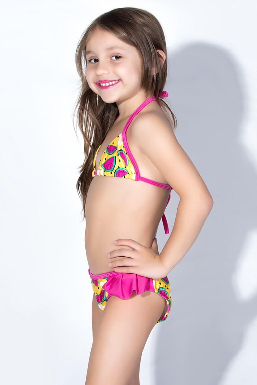 Biquini Infantil Estampado com Babado Liso (Amarelo com Melancia / Rosa Pink) | Ref: DVBQ31-002