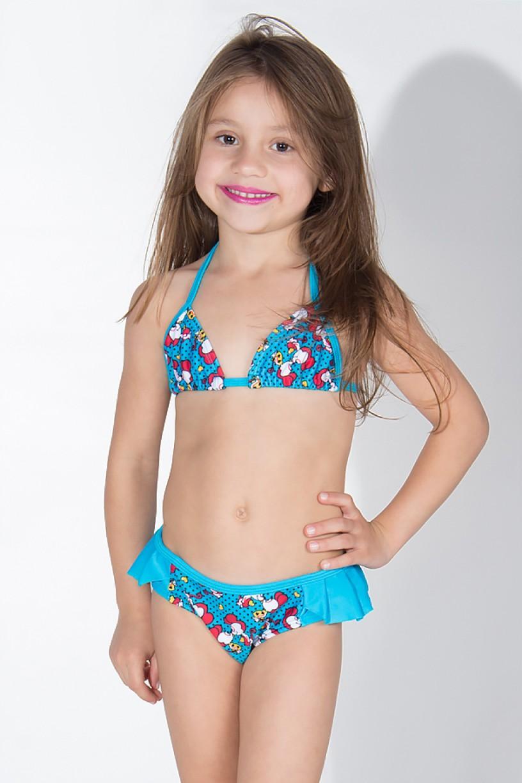 Biquini Infantil Estampado com Babado Liso (Azul com Ratinhos Vermelhos / Azul Celeste) | Ref: DVBQ31-003