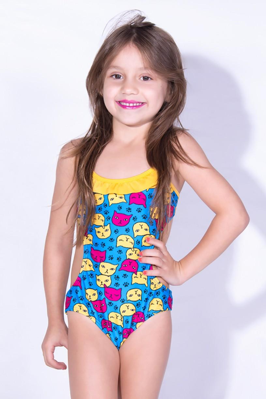 Maiô Infantil de Amarrar Estampado com Babado (Azul com Gatinhos / Amarelo) | Ref: DVBQ-32-002