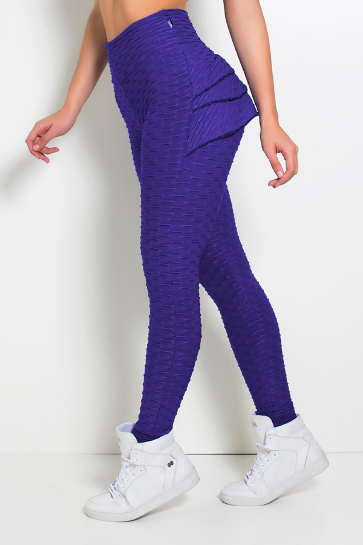 Calça Com Babado Tecido Bolha (Violeta) | Ref: KS-F348-001