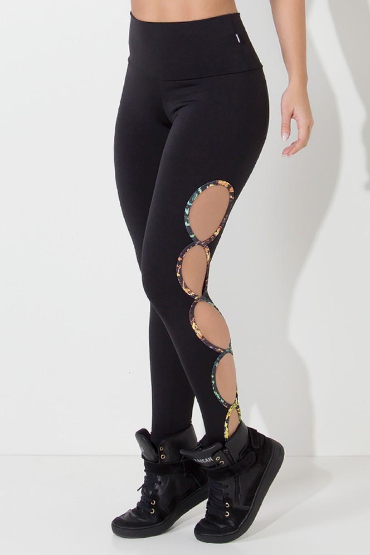 Legging Gota Sabrina Lisa com Viés Estampado (Preta) | Ref: KS-F390-001