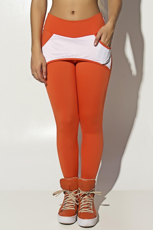 Calça Katherine com Bolso em Detalhe Dry Fit (Laranja / Branco) | Ref: KS-F690-003