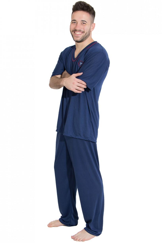 Pijama Mas. Manga Curta 091 (Azul marinho)   Ref: CEZ-PM01-001