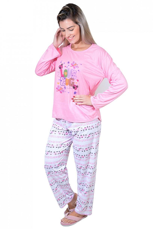 Pijama feminino longo 248 (Rosa com letras)