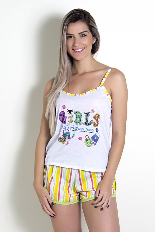Babydoll Feminino 054 (Amarelo com letras)