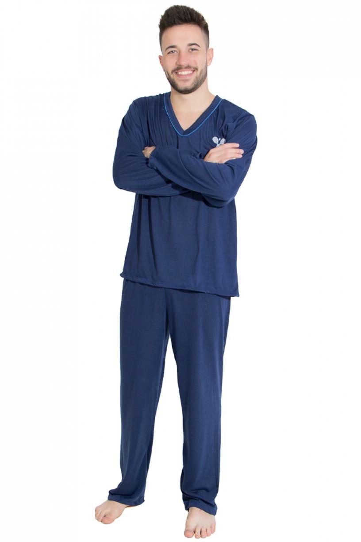 Pijama Mas. Longo 080 (Azul Marinho) | Ref: CEZ- PLM01-001
