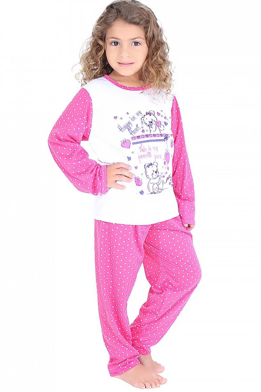 Pijama longo infantil 108 (Pink com poá branco)
