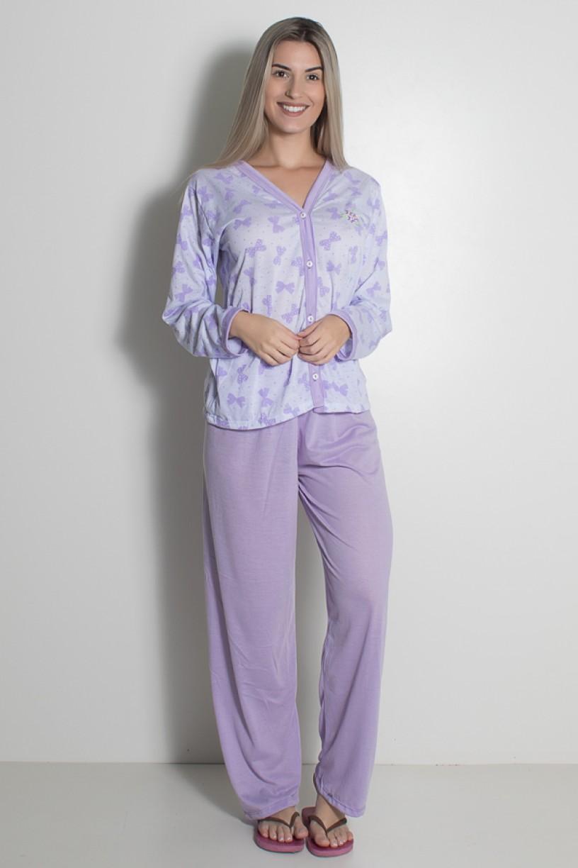 Pijama feminino longo 182 (Lilás)   Ref: CEZ-PA182-008