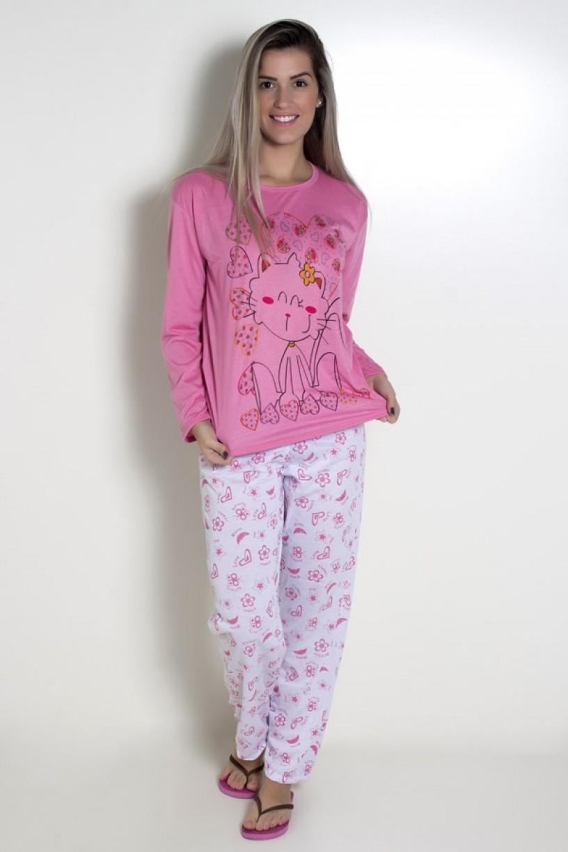 Pijama feminino longo 248 (Rosa com gatinho)