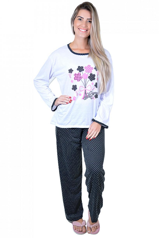 Pijama feminino longo 246 (Preto com flores)