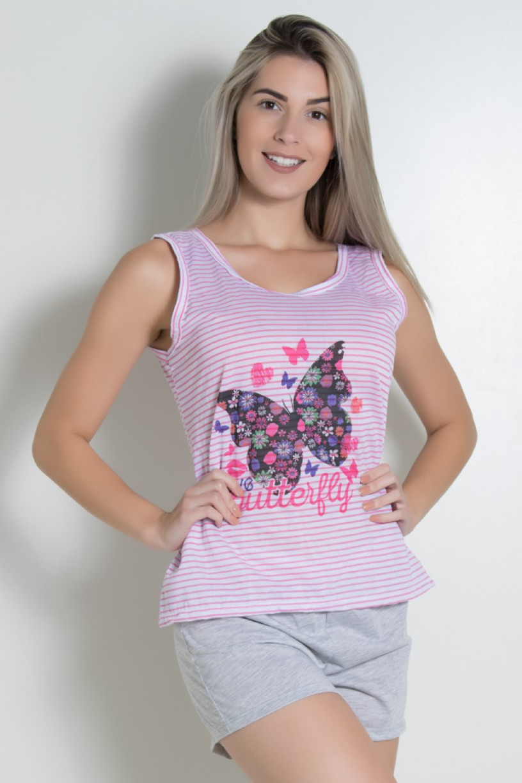 Babydoll Feminino 261 (Rosa com borboleta) | Ref: CEZ-BM04-001