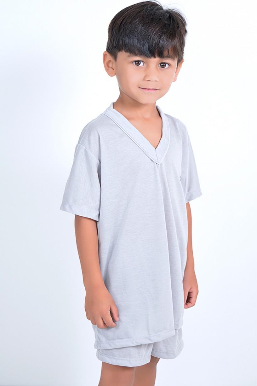 Pijama infantil mas. Curto 037 (Cinza)