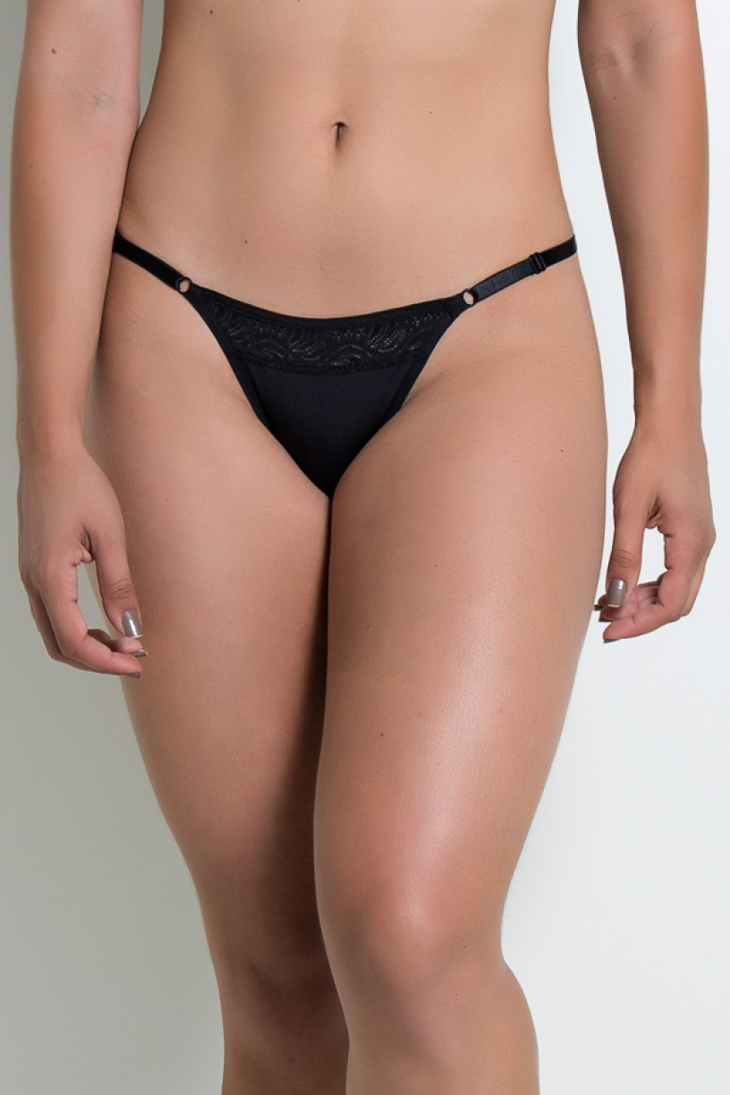 Calcinha com Renda e Regulagem Lateral CLR002 (Preto) | Ref: KS-A200-003