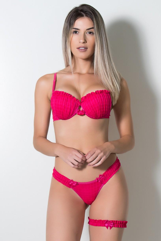 Conjunto com Perneira 352 (Rosa Pink) | Ref: KS-B221-003