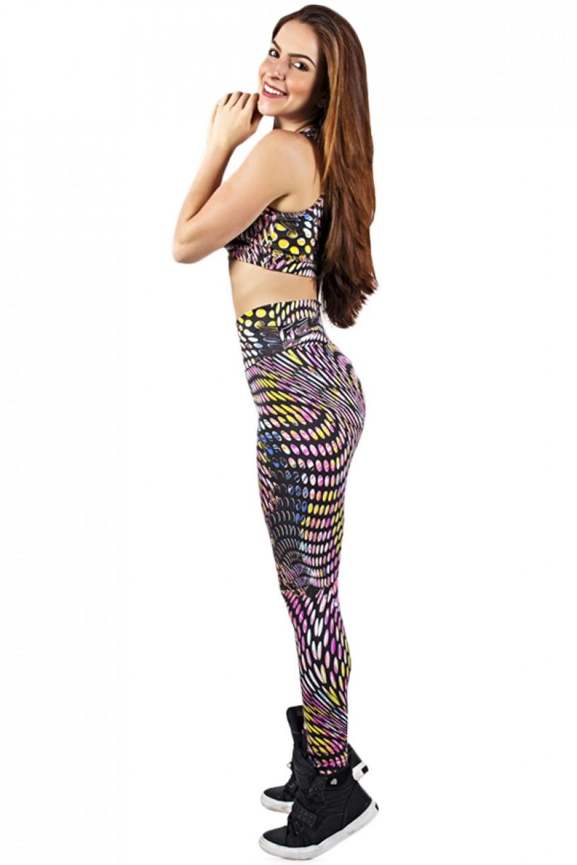 Conjunto Cropped e Legging Estampada Bolhas Coloridas | Ref: KS-F816-024