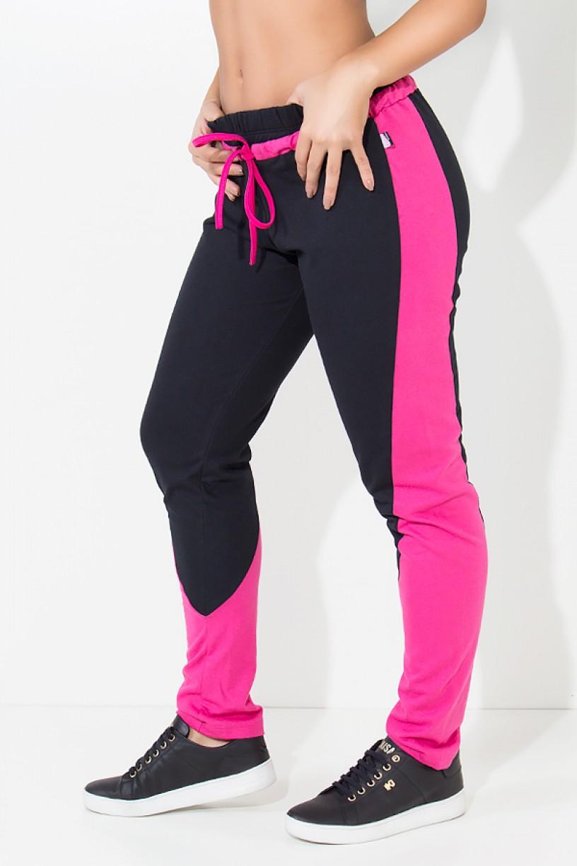 Calça de Moletim Duas Cores com Cadarço (Preto / Rosa Pink) | Ref:KS-F1855-001