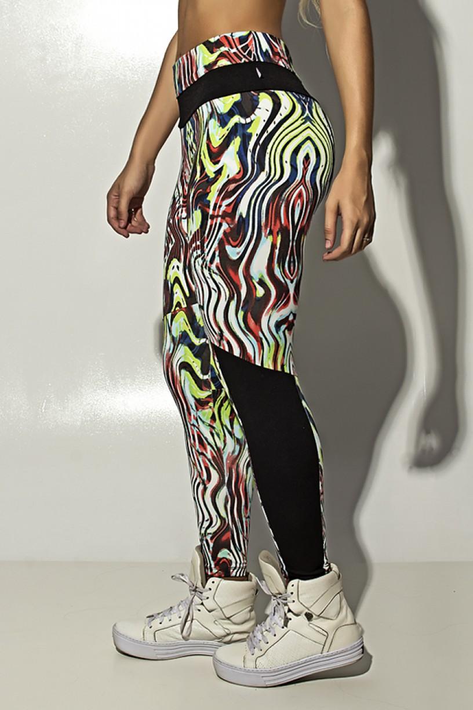 Calça Estampada com Detalhe Liso Grazi