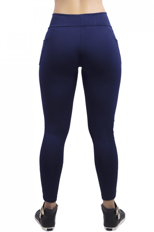 Calça Paula Lisa com Detalhe Dry Fit e Bolso | Ref:584