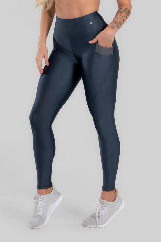 Calça Legging com Bolso e Detalhe em Elástico (Chumbo)   Ref: K2946-B