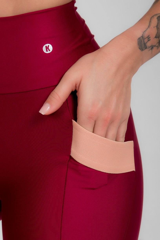 Calça Legging com Bolso e Detalhe em Elástico (Vinho)   Ref: K2946-D