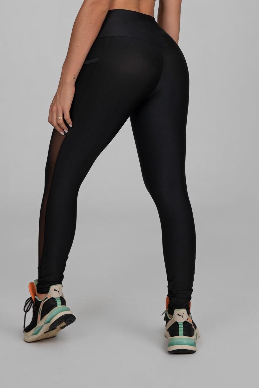 Calça Legging com Bolso e Faixa de Tule (Preto)   Ref: K2873-A