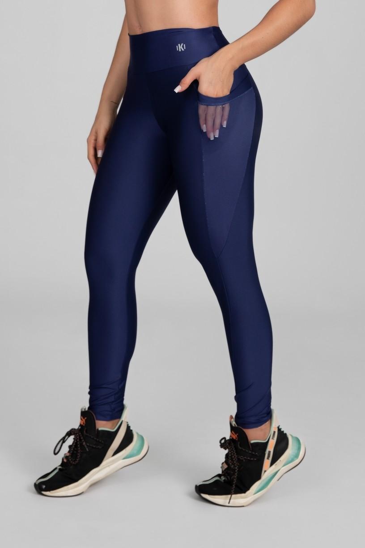 Calça Legging com Bolso em Tule (Azul Marinho)   Ref: K2871-D
