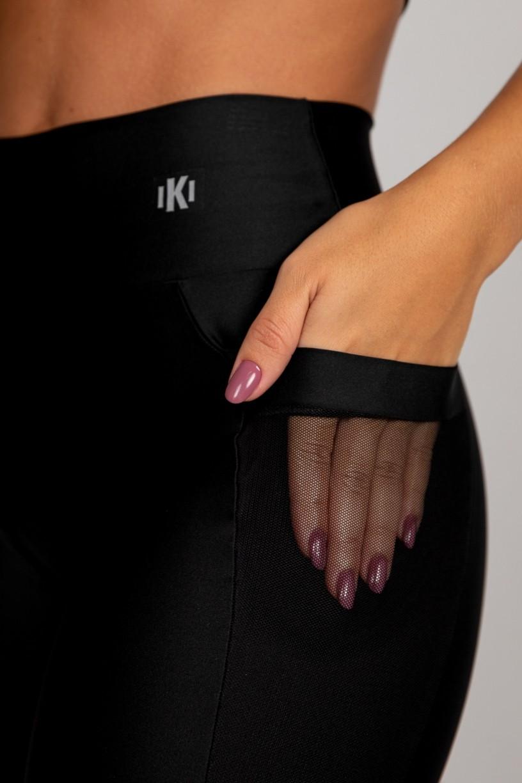 Calça Legging com Bolso em Tule (Preto) | Ref: K2871-A