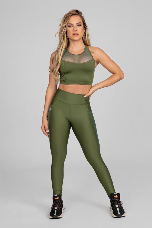 Calça Legging com Bolso em Tule (Verde Militar) | Ref: K2871-E