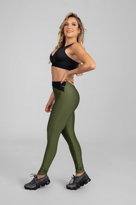 Calça Legging com Elástico em X (Verde Militar / Preto) | Ref: K2875-E