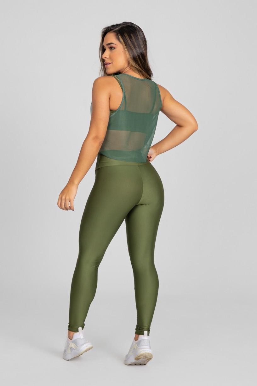Calça Legging com Recorte Curvo e Pesponto (Verde Militar)   Ref: K2886-E