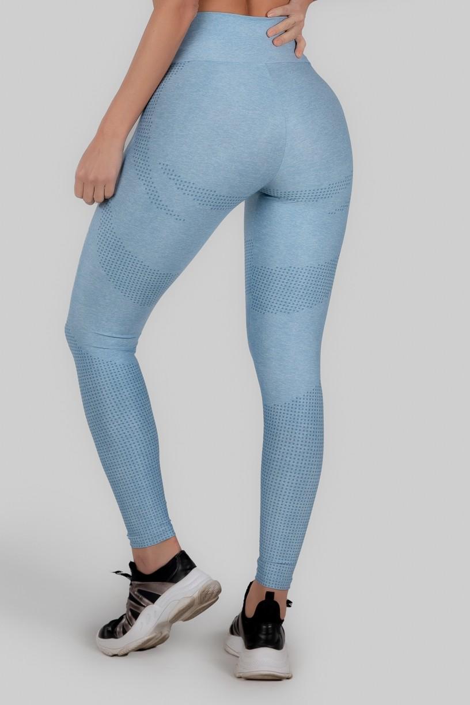 Calça Legging Estampa Digital Cós Duplo (Acqua Blue)   Ref: K3015-A