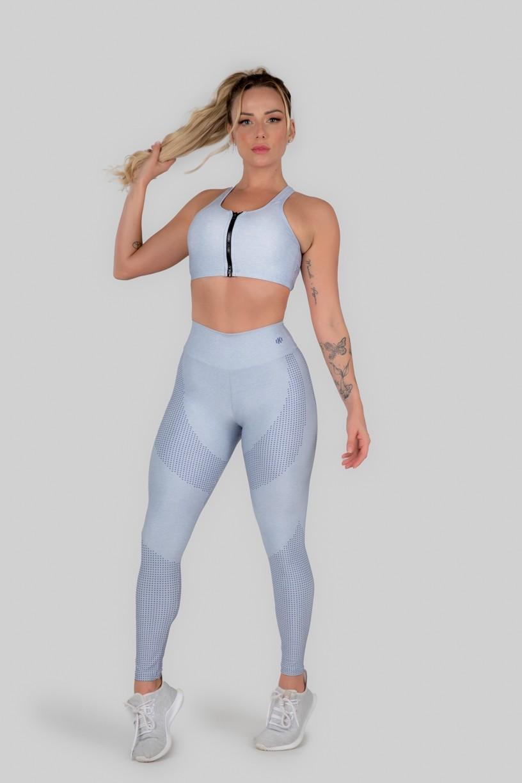 Calça Legging Estampa Digital Cós Duplo (Lilac Mark)   Ref: K3009-A