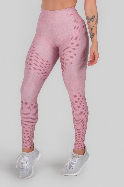 Calça Legging Estampa Digital Cós Duplo (Pink Dot)   Ref: K3011-A