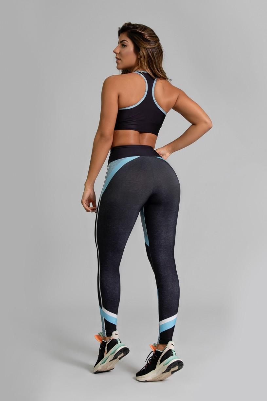 Calça Legging Fitness Estampa Digital Linear Blue   Ref: GO354
