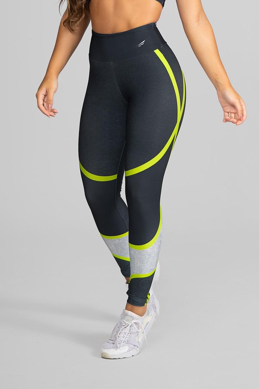 Calça Legging Fitness Estampa Digital Yellow Strings   Ref: GO265