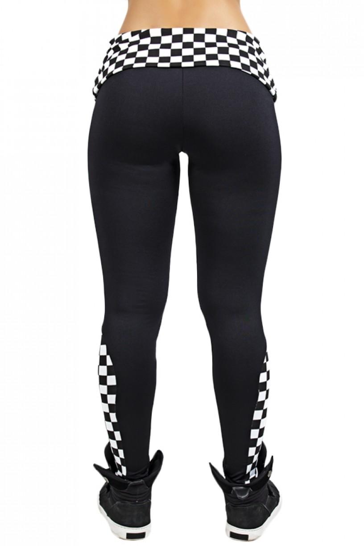 Calça Lisa com Detalhe Estampado e Cós Dobrado (Preto / Quadriculado Preto e Branco) | Ref: KS-F913-001