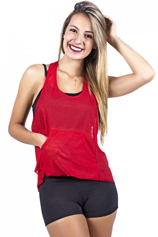 Camiseta Tecido Transparente com Bolso